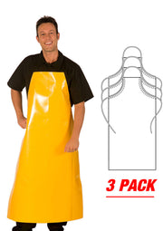 HiLite 3 Pack Janitorial and Chemical Adjustable Extra Long Aprons Water Proof Multi Purpose Unisex - 888HDA