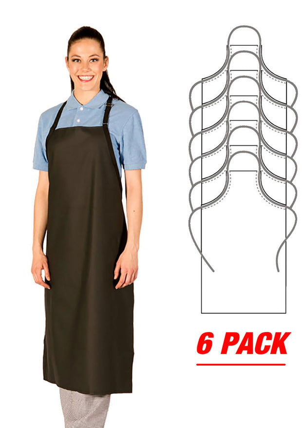 HiLite 6 Pack Adjustable Polyurethane Janitorial Apron Extra Long, Waterproof 899XLA