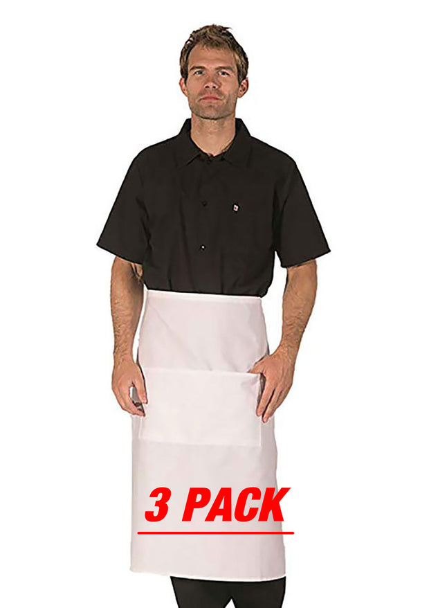HiLite 3 Pack Bistro Apron - Two Pockets - Waiter Waitress Chef Unisex - 920