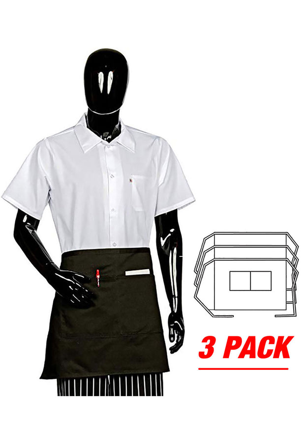 ITEM: 930, 1/2 Bistro Apron, Two Center Pockets, 3 Pack