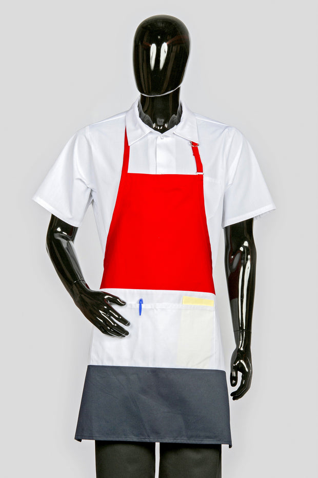 ITEM: 877, Adjustable Neck Tri-Color Apron, Two Center Pockets, 3 Pack