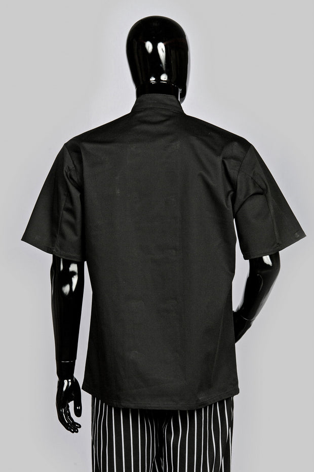 HiLite 6 Pack Classic Chef Coat Short Sleeve - Black 530BK