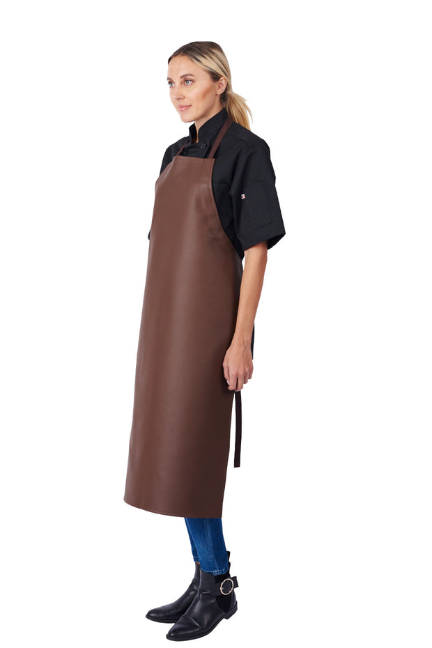 ITEM: 855XLA, Adjustable Heavy Duty Leather Look Vinyl Bib Apron Extra Long, Waterproof, 6 Pack