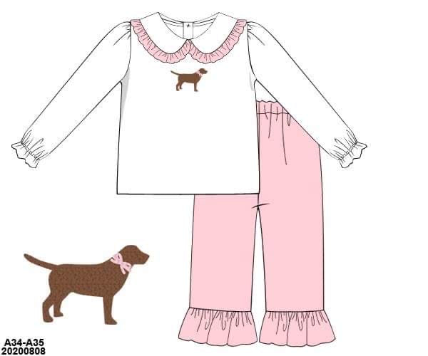 Dainty Dog Collection Girl Pant Set