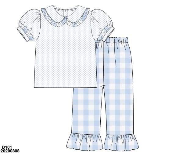 Blue Gingham Girl Pant Set