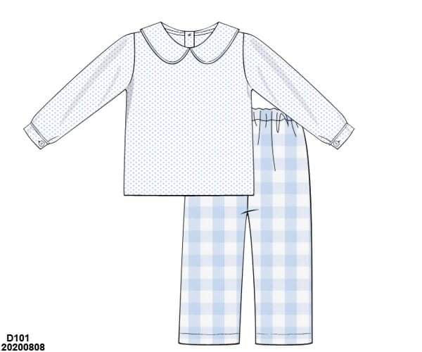 Blue Gingham Boy Pant Set