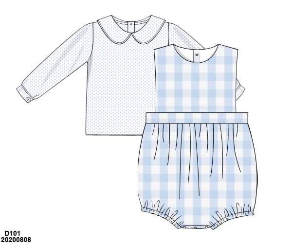 Blue Gingham Boy Bubble Set