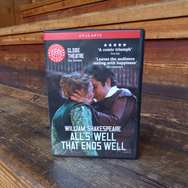 DVD of Shakespeare's Globe 2011 production of All's Well That Ends Well. Performed and recorded in Shakespeare's Globe.