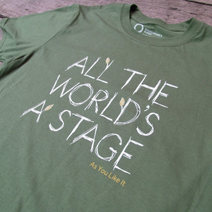 "Green t-shirt inspired by Shakespeare's As You Like It. Printed with the quote ""all the world's a stage"""