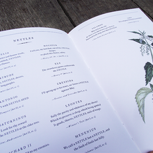 Inside view of a hardback edition of Botanical Shakespeare by Sumie Hasegawa-Collins