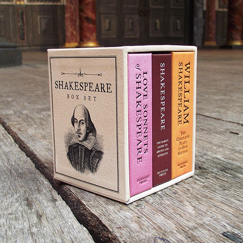 Miniature box set containing three novelty Shakespeare books in a hardback slipcase.
