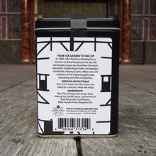 Tin of 20 sachets of A Midsummer Night's Dream tea. The tin is decorated to look like Shakespeare's Globe theatre.