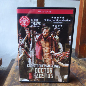 DVD of Shakespeare's Globe 2011 production of Doctor Faustus. Performed and recorded in Shakespeare's Globe.
