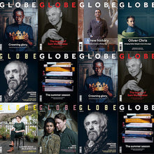 A selection of cover art for Shakespeare's Globe's magazine, GLOBE
