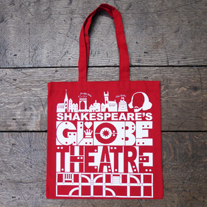 Red cotton bag with a bold, graphic print in white featuring title and details from Shakespeare's Globe theatre