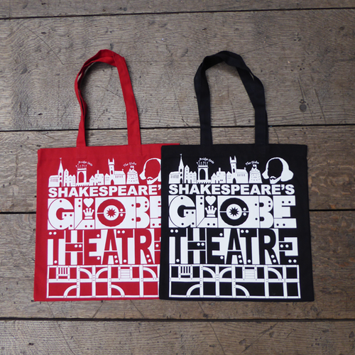 Red or black cotton bag with a bold, graphic print in white featuring title and details from Shakespeare's Globe theatre