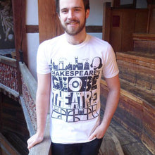 White Shakespeare's Globe Theatre t-shirt, with a bold, graphic design printed in black.