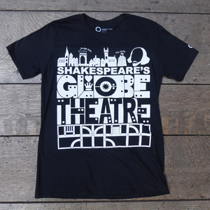 Black Shakespeare's Globe Theatre t-shirt with a bold, graphic design printed in white.