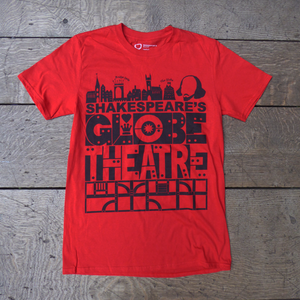Red Shakespeare's Globe Theatre t-shirt with a bold, graphic design.