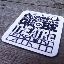 White Shakespeare's Globe Theatre coaster with a bold, graphic design printed in black. Edit alt text