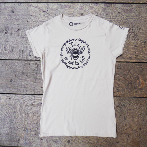 Cream t-shirt from Shakespeare's Globe for Hamlet, with a fun bee design.
