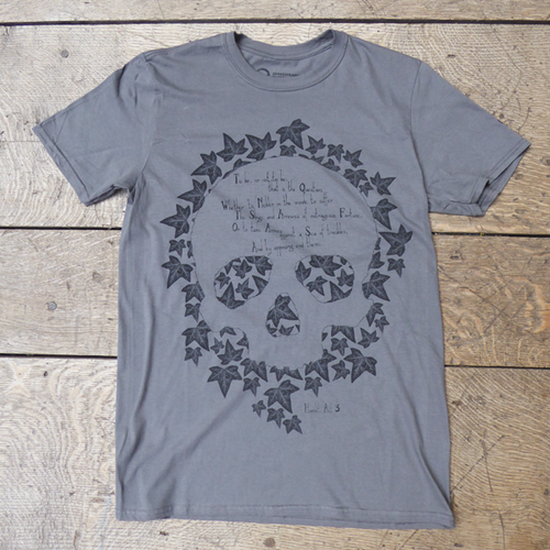 Grey Hamlet t-shirt with a skull design and quote