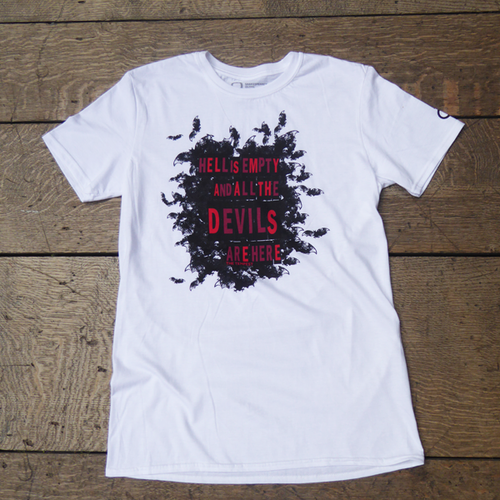 White t-shirt with a quote from Shakespeare play, The Tempest, surrounded by bats