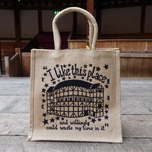 Sturdy jute tote bag with a print showing a view of the Globe Theatre.