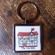 Chunky metal keyring with a friendly illustration of Shakespeare's Globe theatre