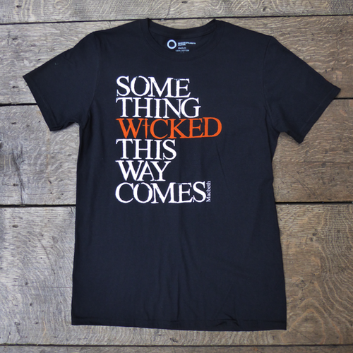 Black Macbeth t-shirt from Shakespeare's Globe. Printed quote