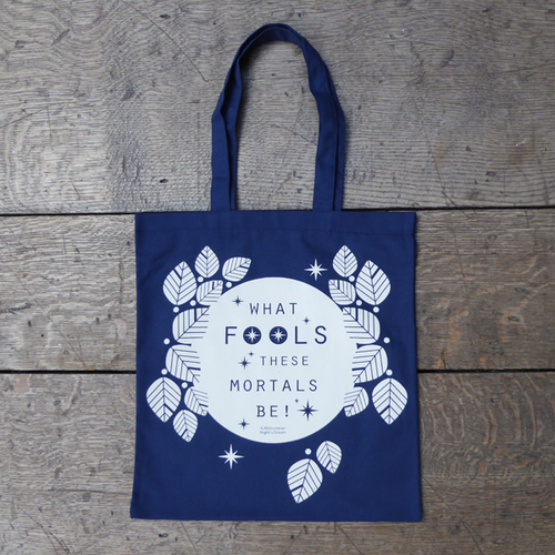 A Midsummer Night's Dream book bag for Shakespeare's Globe. Midnight blue with a quote from the play printed in white.