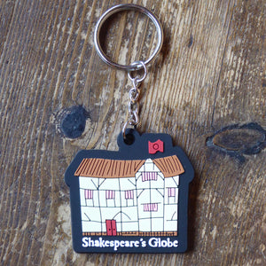 PVC keyring with a cartoon of Shakespeare's Globe theatre
