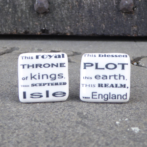 Ceramic cufflinks featuring a speech from Shakespeare play, Richard II (This sceptered isle)