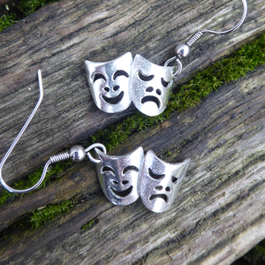 Comedy and Tragedy theatre masks earrings