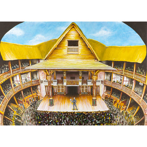 Poster adapted from a painting of Shakespeare's Globe Theatre in performance. The audience has gathered in front of the stage to watch an actor. The thatched roof contains the painting and the blue sky can be seen through the open roof.