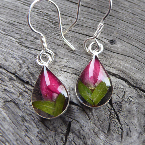 Teardrop earrings featuring tiny real rose buds encased in resin