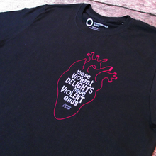 Romeo and Juliet t-shirt from Shakespeare's Globe, featuring an anatomical heart and a quote from the play.