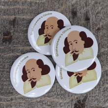 Button badge with a cartoon portrait of William Shakespeare