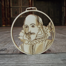 Laser-cut wooden decoration featuring a portrait of William Shakespeare. Exclusive To Shakespeare's Globe