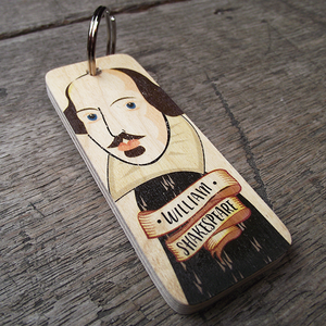 Wooden keyring with a portrait of William Shakespeare