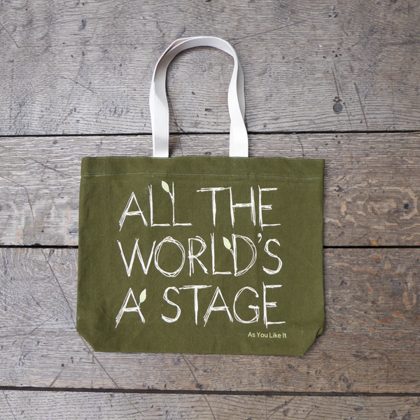 Sturdy sage green tote bag with a quote from Shakespeare play As You Like It