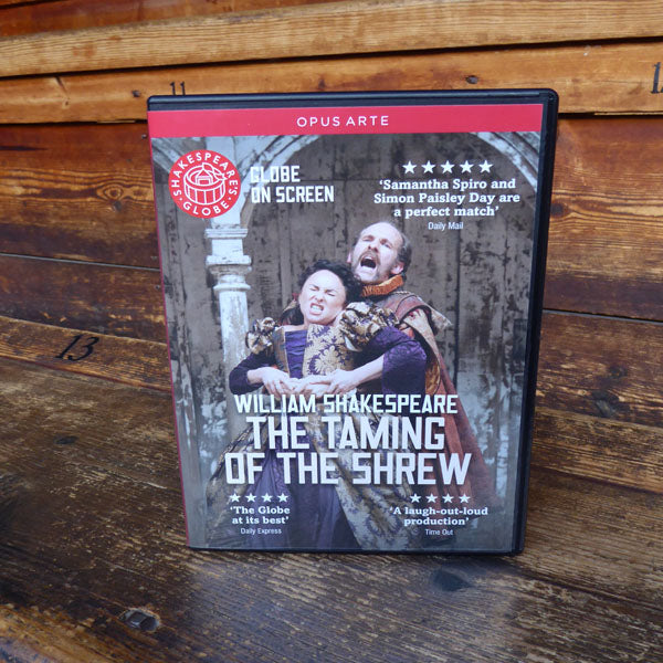 DVD of Shakespeare's Globe 2012 production of The Taming Of The Shrew. Performed and recorded in Shakespeare's Globe.
