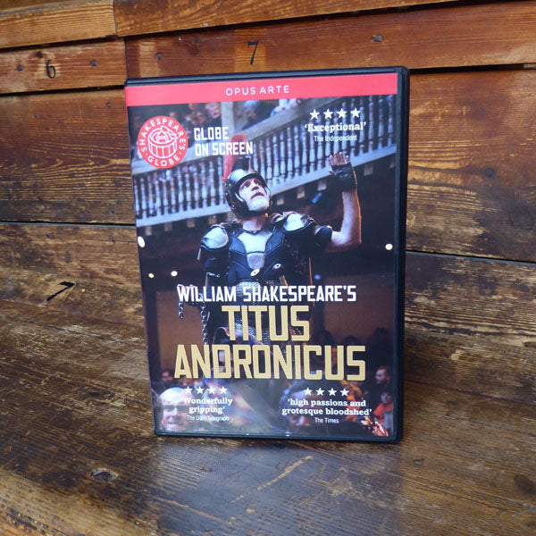 DVD of Shakespeare's Globe 2014 production of Titus Andronicus. Performed and recorded in Shakespeare's Globe.