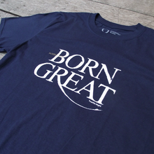 "Navy blue t-shirt with a quote from Shakespeare play, Twelfth Night. Quote reads ""Some are born great"""