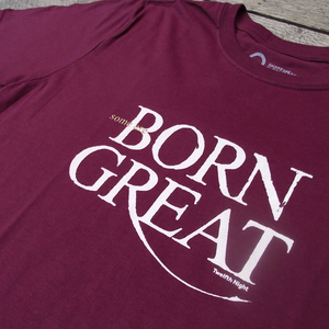 "Wine red t-shirt with a quote from Shakespeare play, Twelfth Night. Quote reads ""Some are born great"""