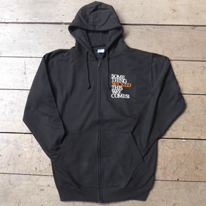 "Black hooded sweatshirt with full zip for Shakespeare's Globe. Printed with a quote from Macbeth ""Something wicked this way comes"""