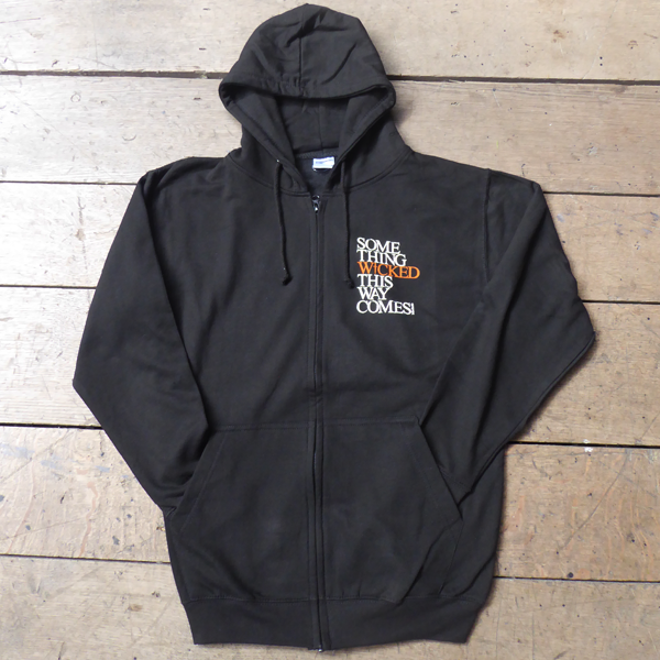Black hooded sweatshirt with full zip for Shakespeare's Globe. Printed with a quote from Macbeth