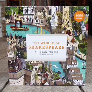 1000 piece jigsaw puzzle called the World of Shakespeare. Vibrant and colourful image of Shakespeare's London full of detail and characters to find. Picture taken inside Shakespeare's Globe Theatre