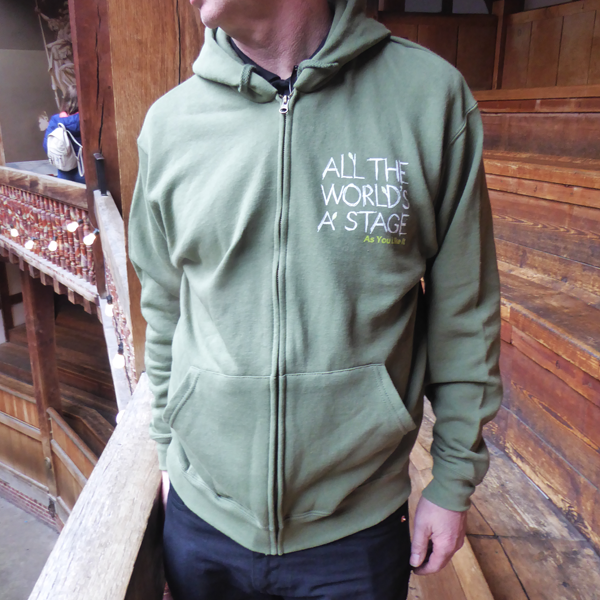 'All The Worlds a Stage' Green Fitted Hoodie