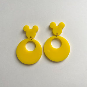 Yellow 80s Inspired Retro Mouse Earrings